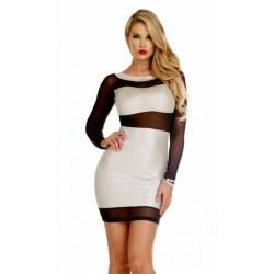 STERLING: vestido plata metálico con transparencias de malla negra - mod. 883960