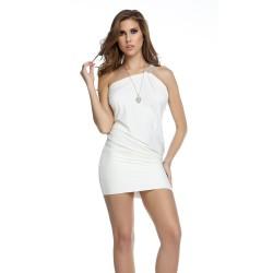 ROVIGO: vestido blanco a un hombro con tirante de cristales - mod. 883729