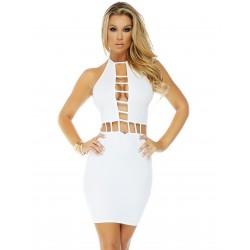 HIGH STANDARDS: vestido blanco tipo halter con apertura en cintura y escote mod. 884715