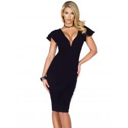 NAOMI: vestido negro con mangas cortas y escote en V mod. 885216