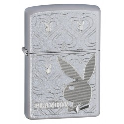 ZIPPO PLAYBOY BUNNY HEARTS SATIN CHROME LIGHTER