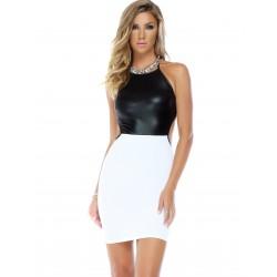 REFINED: vestido tipo halter con top negro y falda blanca mate - mod. 884769