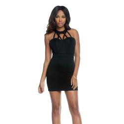 MAZARA: vestido negro tipo halter con detalle cruzado en el escote - mod. 883732