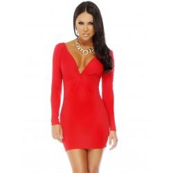 UPPER ECHELON: vestido rojo de manga larga con escote tipo V y detalle torcido en cintura mod. 884722