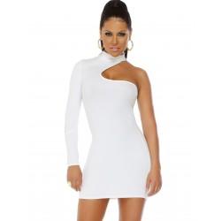 SOPHISTICATE: vestido blanco de una manga larga y cuello alto mod. 884725