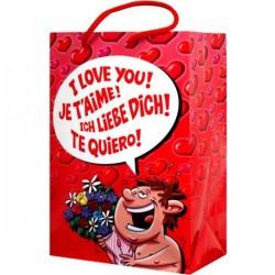 BOLSA DE REGALO I LOVE YOU DE HOMBRE CON FLORES